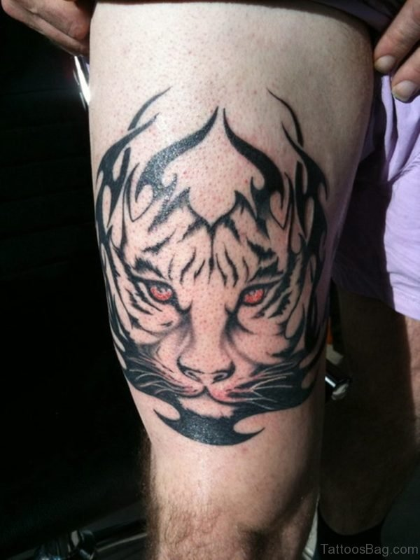Tribal Tiger Tattoo On Thigh For Men