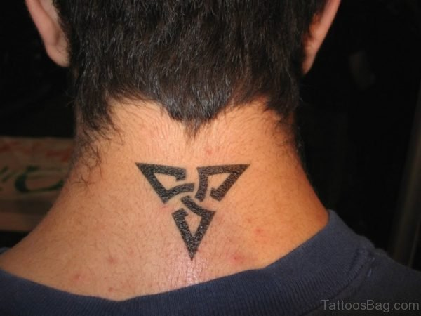 Tribal Triangle Tattoo On Neck