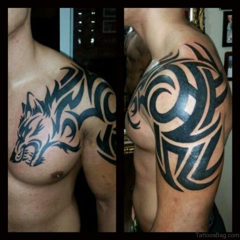 50 magnificent wolf tattoos for chest for Tribal wolf tattoo