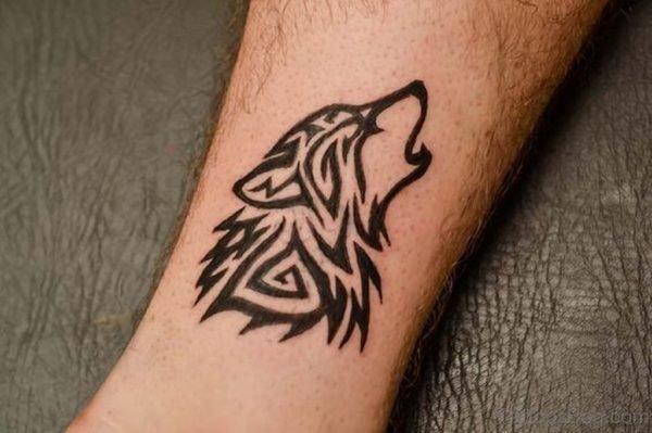 Tribal Wolf Tattoo On Arm