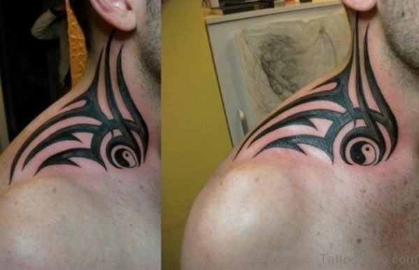 Tribal tattoo On Side Neck