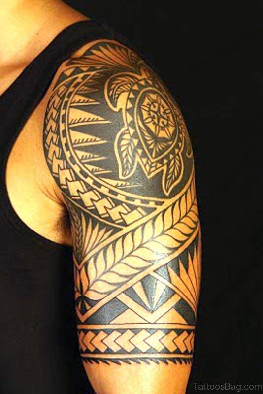 Turtle Maori Shoulder Tattoo
