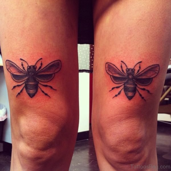 Twin Bee Tattoos On Thigh