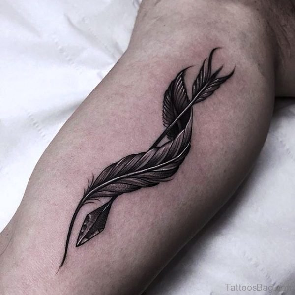 Twisted Feather Tattoo On Arm