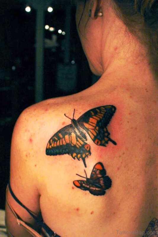 Two Black Butterflies Tattoo On Shoulder