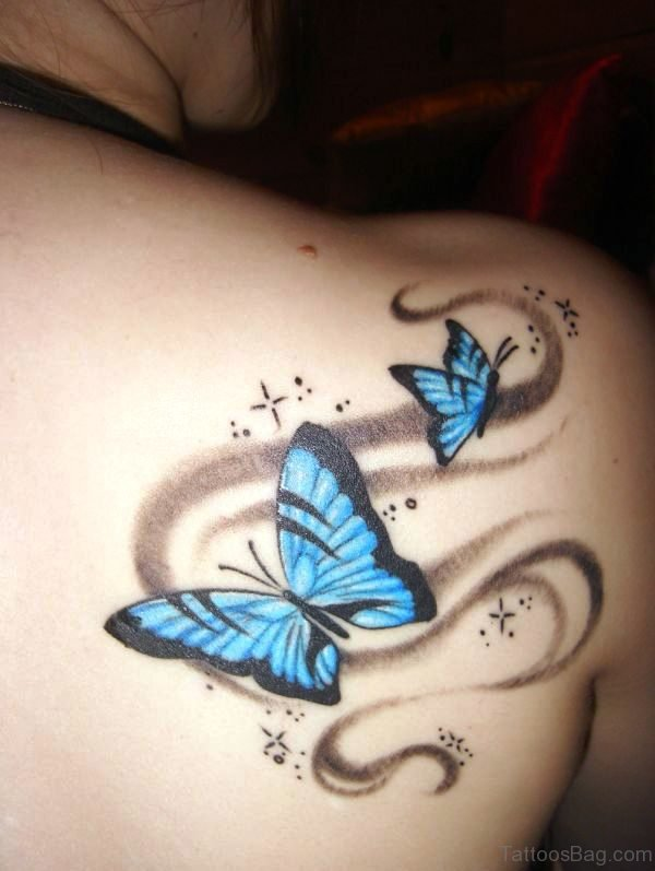 55 delightful butterfly tattoos on shoulder for Butterfly tattoos gallery