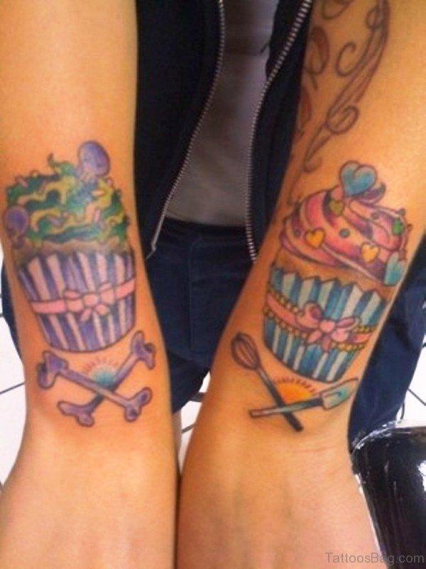 Two Cupcake Tattoo On Wrist
