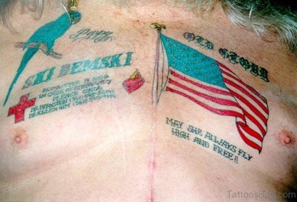 US Flag Tattoo On Chest