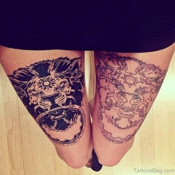 Ultimate Lion Tattoo On Thigh