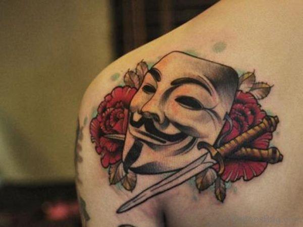Ultimate Mask Tattoo On Back Shoulder