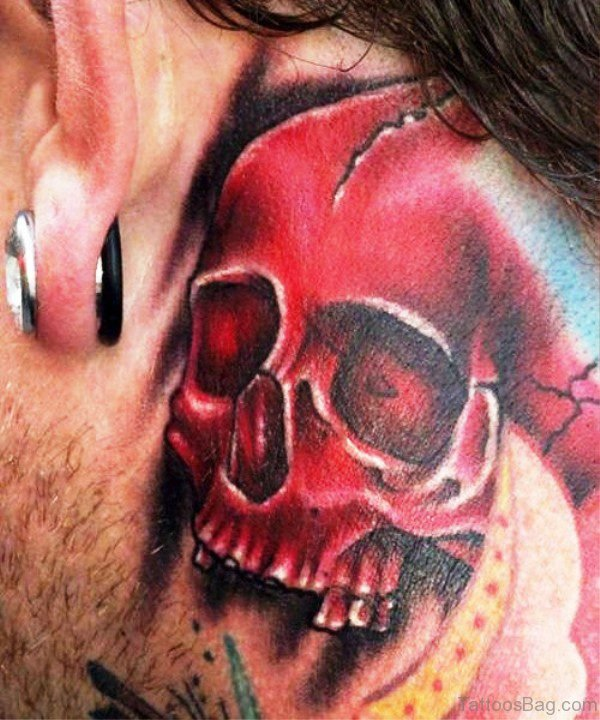 Ultimate Red Skull Tattoo On Neck