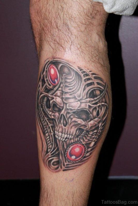 Unique Biomechanical Skull Tattoo On Leg