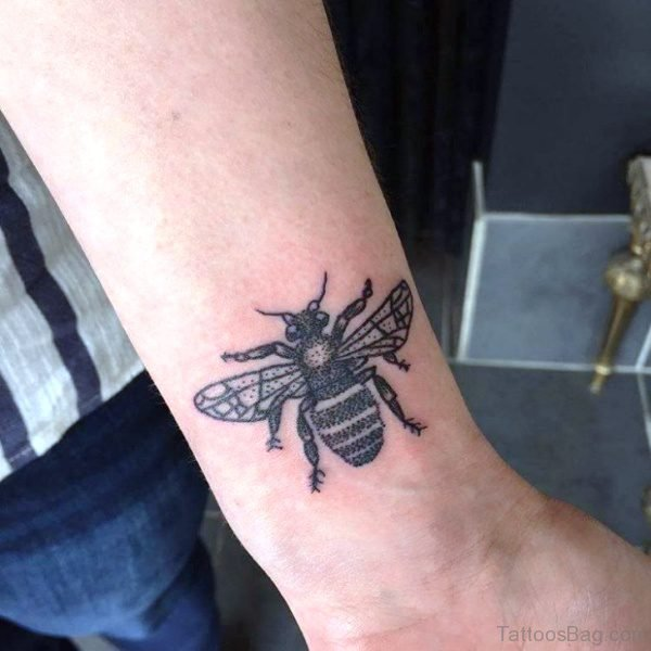Unique Black Bee Tattoo On Wrist