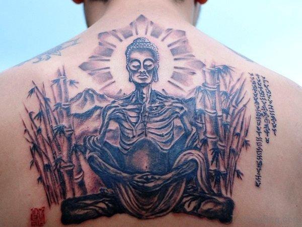 Unique Buddha Tattoo On Back