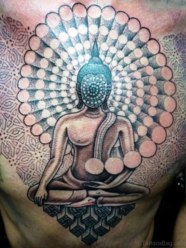 Unique Buddha Tattoo On Chest