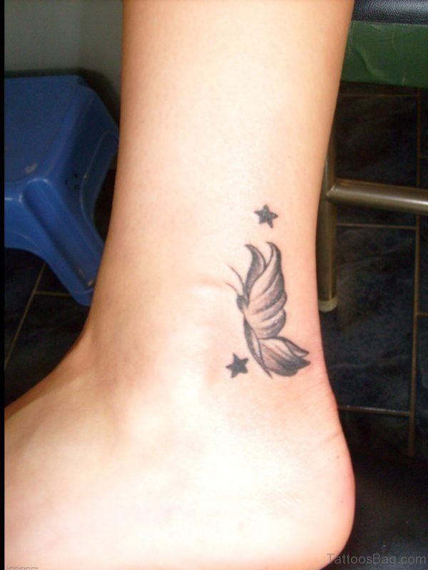 Unique Butterfly Tattoo On Ankle