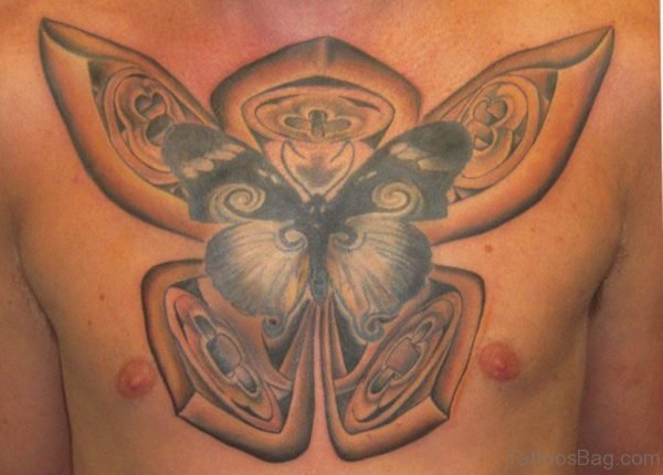 Unique Butterfly Tattoo On Chest