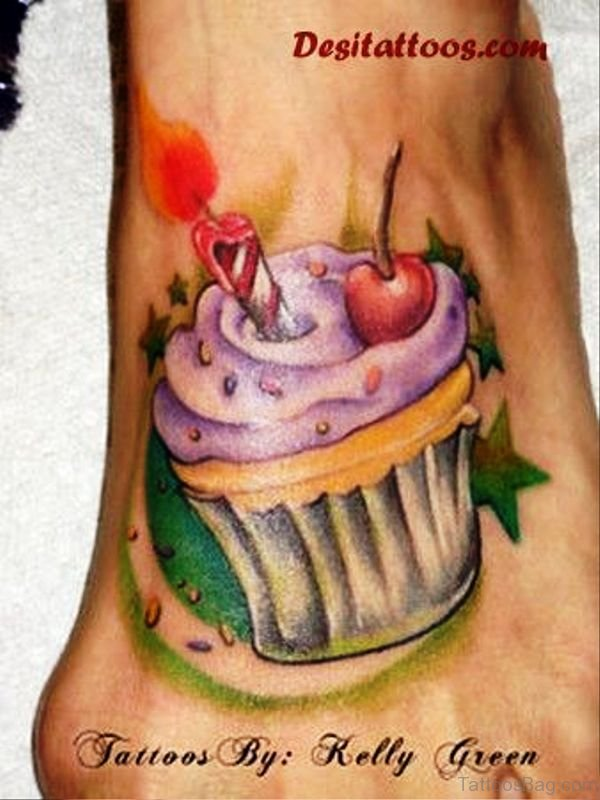Unique Cupcake Tattoo On Foot