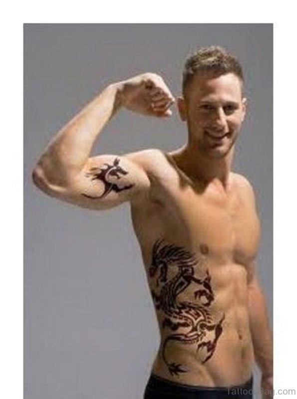 Unique Dragon Tattoo On Rib