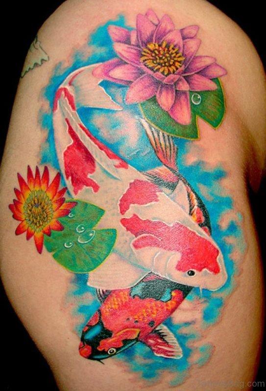 Unique Fish And Lotus Tattoo
