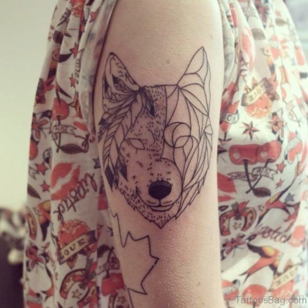 Unique Fox Tattoo On Shoulder