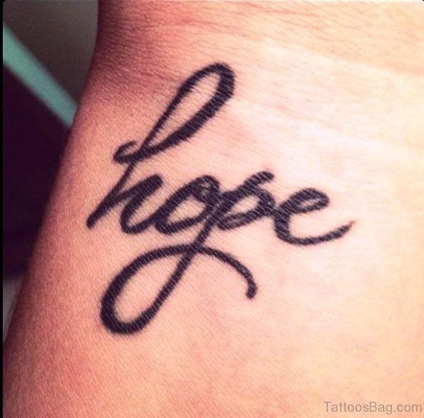 Unique Hope Tattoo On Wrist