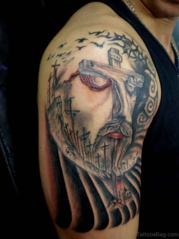 Unique Jesus Tattoo On Shoulder