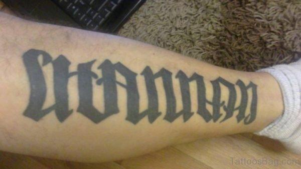 Unique Leg Ambigram Tattoo