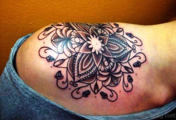 Unique Lotus Flower Tattoo On Shoulder