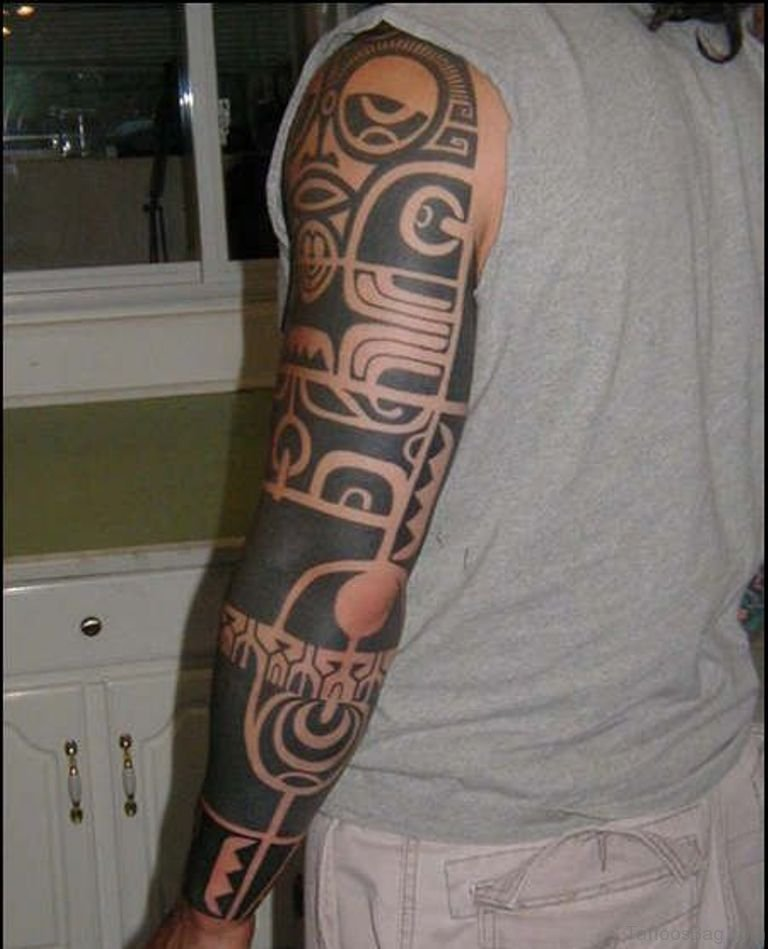 56 maori tattoo designs on full sleeve for Unique arm tattoos