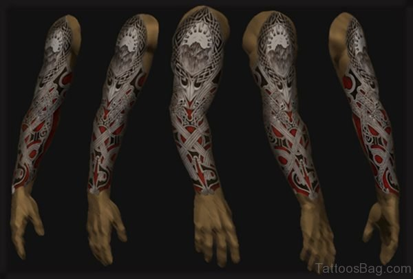 Unique Scary Full Sleeve Tattoo