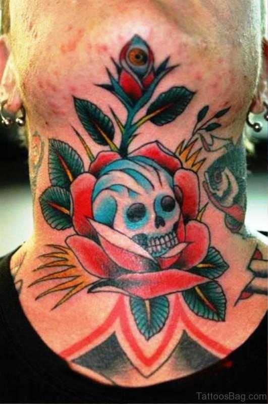 Unique Skull Tattoo On Neck