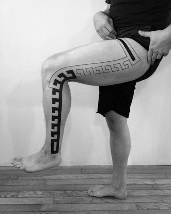 Unique Tribal Tattoo Design On Leg
