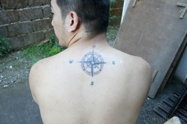 Upper Back Compass Tattoo For Guys