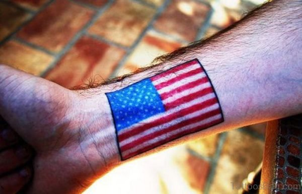 Us Flag Tattoo On Wrist