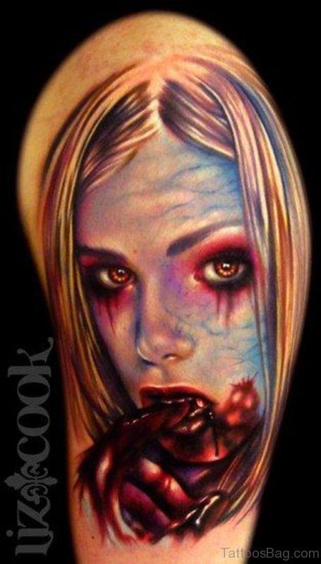 Vampire Girl Portrait On Half Sleeve