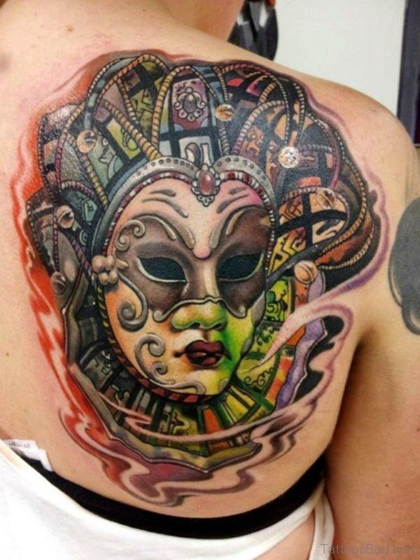 Venetian Mask Tattoo On Back Shoulder