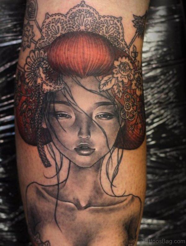Very Beautiful Geisha Tattoo