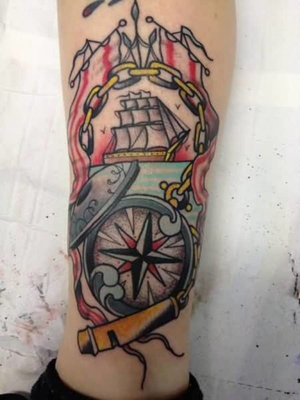 Vintage Compass And Ship With Old Chain Tattoo