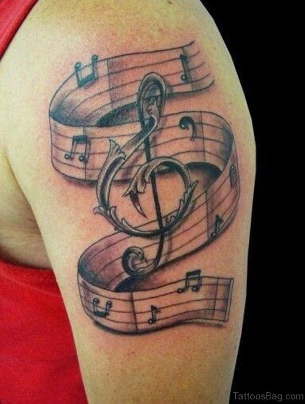 Violin Key Music Tattoo