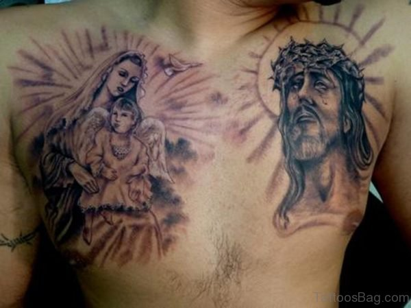 Virgin Mary Jesus Tattoo On Chest