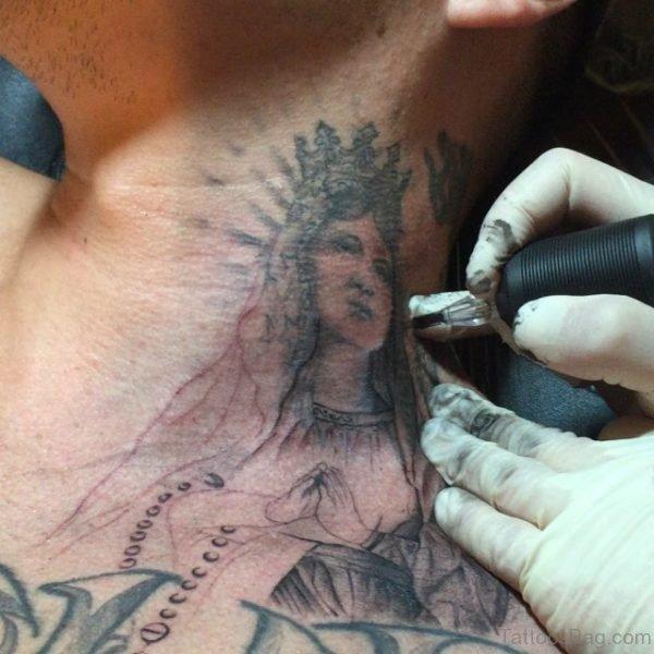 Virgin Mary Neck Tattoo