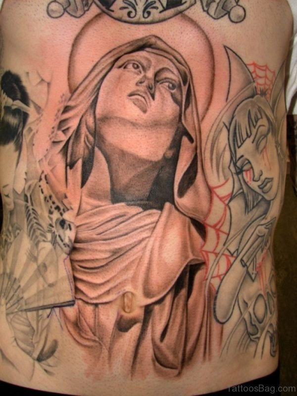 Virgin Mary Portrait Tattoo On Rib