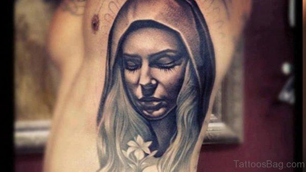 Virgin Mary Tattoo On Side Rib