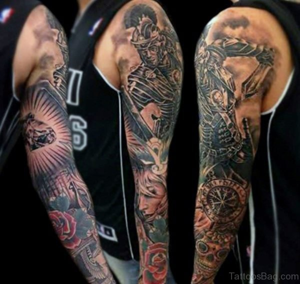 Warrior And Rose Tattoo