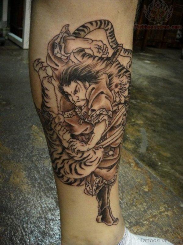 Warrior And Tiger Tattoo