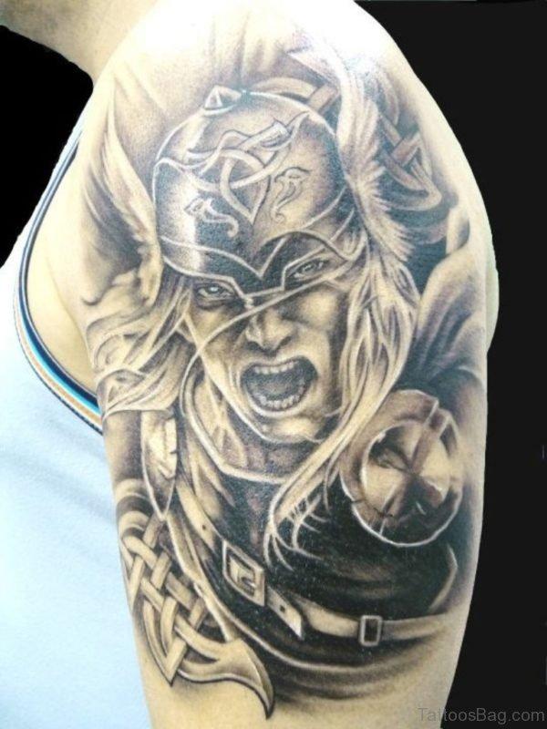 Warrior Celtic Tattoo On Shoulder