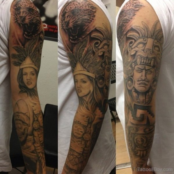 Warrior Tattoo Design On Full Sleeve