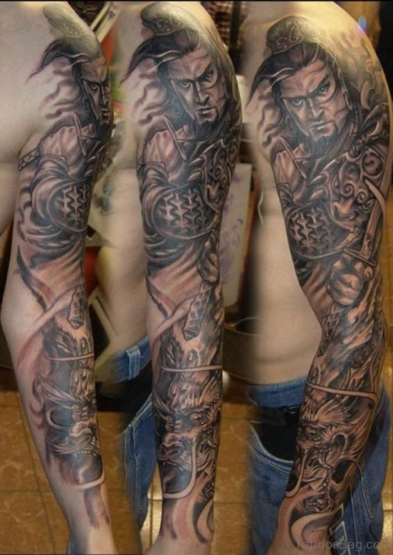 Warrior Tattoo On Full Sleeve