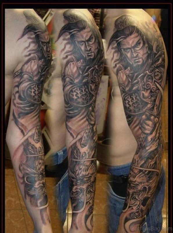 Warrior and Dragon Tattoo On Full Sleeve